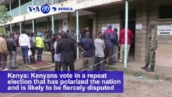 VOA60 Africa - Lower Voter Turnout, Clashes Mark Kenya's Presidential Poll Re-run
