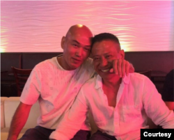 Lam Hong Le, left, and his brother Mickey Le at their reunion during the July Fourth holiday weekend in Los Angeles. (Lam Hong Le)