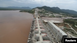 FILE - The Grand Ethiopian Renaissance Dam is seen as it undergoes construction work on the river Nile in Guba Woreda, Benishangul Gumuz Region, Ethiopia, Sept. 26, 2019.