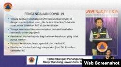 Budi Siylvana Kepala Pusat Krisis Kesehatan, Kementerian Kesehatan saat menjelaskan Pengendalian COVID-19 dalam penanganan dampak banjir bandang di Luwu Utara, 19 Juli 2020.(Foto: Tangkapan Layar)
