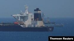 Kapal supertanker minyak Grace 1 berlabuh di Gibraltar, 5 Juli 2019.