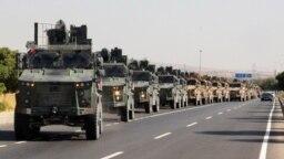 Đoàn xe quân sự Thổ Nhĩ Kỳ ở Kilis gần biên giới Thổi Nhĩ Kỳ-Syria, 9/10/2019