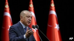 Le président turc Recep Tayyip Erdogan, lors d'une réunion à Ankara, Turquie, le 11 février 2020.