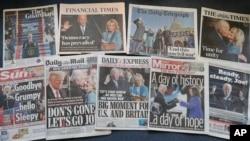 Halaman depan sejumlah koran nasional Inggris mengenai pelantikan Presiden AS Joe Biden, di London, 21 Januari 2021.