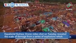 VOA60 Africa - Equatorial Guinea: Drone video reveals the scale of damage from a series of explosions which killed at least 98 people