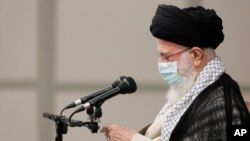 File - Iranian supreme leader, Supreme Leader Ayatollah Ali Khamenei called on the U.S. 'stubborn' installed nuclear talks in Vienna for discussing Tehran's missiles and regional influence, July 28, 2021.