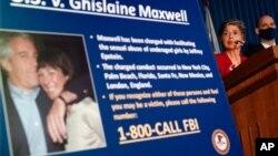 Conférence de presse du FBI pour annoncer des accusations contre Ghislaine Maxwell, à New York, le 2 juillet 2020.(Photo AP)