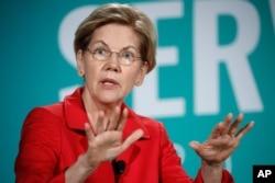 Democratic presidential candidate Sen. Elizabeth Warren, D-Mass., speaks during a candidate forum on labor issues, Aug. 3, 2019, in Las Vegas.
