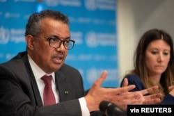 FILE - Director-General of World Health Organization Tedros Adhanom Ghebreyesus speaks at a news conference on the outbreak of the coronavirus disease, in Geneva, Switzerland, March 16, 2020.