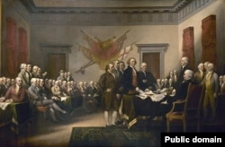 """Artist John Trumbull titled this painting, """"The Declaration of Independence,"""" but it depicts a scene that never took place because the signers of the declaration never gathered in one place at the same time to sign the document."""