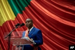 FILE - Central African Republic President Faustin-Archange Touadera delivers his speech in Bangui, March 30, 2021.