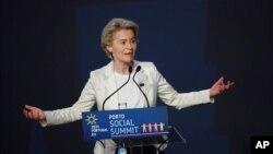Chủ tịch Ủy hội Châu Âu Ursula von der Leyen phát biểu trong lẽ khai mạc hội nghị thượng đỉnh EU trung tâm hội nghị Alfandega do Porto ở Porto, Bồ Đào Nha, ngày 7 tháng 5, 2021.