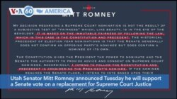 VOA60 Ameerikaa - Mitt Romney said he will support a vote on a replacement for Supreme Court Justice Ginsburg