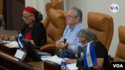 En la fotografía (centro), el presidente de la Asamblea Nacional Gustavo Porras, quien fue sancionado por EE.UU. [Foto Houston Castillo, VOA]