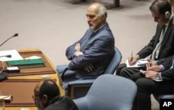 FILE - Syria's United Nations Ambassador Bashar Jaafari listens during a U.N. Security Council's meeting on Syria, Sept. 19, 2019, at U.N. headquarters.