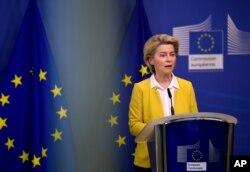 FILE - European Commission President Ursula von der Leyen delivers a statement at EU headquarters in Brussels, April 14, 2021.