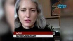 ICIJ成员欧蕾珊(Alexa Olesen)4月8日通过Skype接受美国之音专访(1)