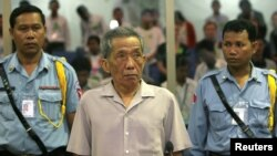 Kaing Guek Eav, seen here in a 2008 file photo, died on Sept. 2, 2020, while serving a life sentence at the Kandal Provincial Correctional Center for crimes against humanity and the deaths of more than 16,000 people in Cambodia's notorious Killing Fields.