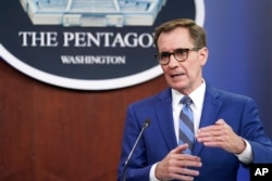 Pentagon spokesman John Kirby speaks during a briefing at the Pentagon in Washington, July 2, 2021.