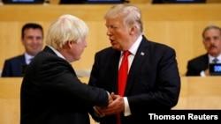 美國總統特朗普與英國首相約翰遜(左)2017年9月18日在紐約資料照。