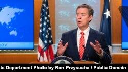샘 브라운백 미 국무부 국제종교자유 대사가 지난 6월 워싱턴 국무부 청사에서 열린 '2019 국제종교자유' 보고서 발표 기자회견에서 북한의 종교 탄압 실태를 언급했다.