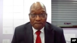 In this Frame grab former South Africa President Jacob Zuma, appears on a screen virtually from the correctional service facility Estcourt, in Pietermaritzburg, South Africa, July 19, 2021. (AP)