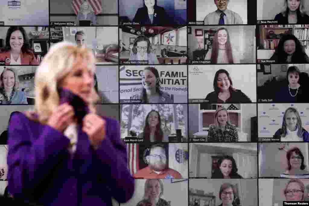 조 바이든 미국 대통령 부인 질 바이든 여사가 백악관에서 미군 가족들과 화상 회담을 했다.