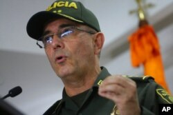 National Police Director Gen. Jorge Luis Vargas speaks at a press conference regarding the alleged participation of former Colombian soldiers in the killing of Haiti's President Jovenel Moïse, in Bogota, Colombia, July 9, 2021.