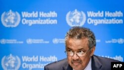 FILE - World Health Organization (WHO) Director-General Tedros Adhanom Ghebreyesus attends a press conference at the WHO headquarters in Geneva, Oct. 18, 2019.