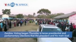 VOA60 Afrikaa - Zambia votes in tense presidential and parliamentary elections