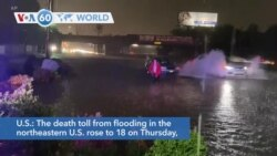 VOA60 World- 18 now dead from flooding in the northeast brought by Ida