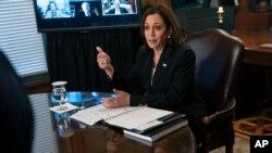 Vicepresidenta Kamala Harris reunida la tarde de este jueves con altos ejecutivos de corporaciones transnacionales para impulsar el plan de la administración de Joe Biden en el Triángulo Norte, el 27 de mayo de 2021.