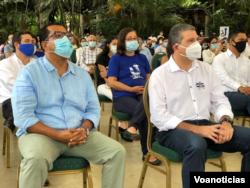 Los líderes opositores Félix Maradiaga y Juan Sebastián Chamorro detenidos en la última semana en Nicaragua. Al fondo la líder opositora Violeta Granera. [Foto archivo Houston Castillo/VOA]