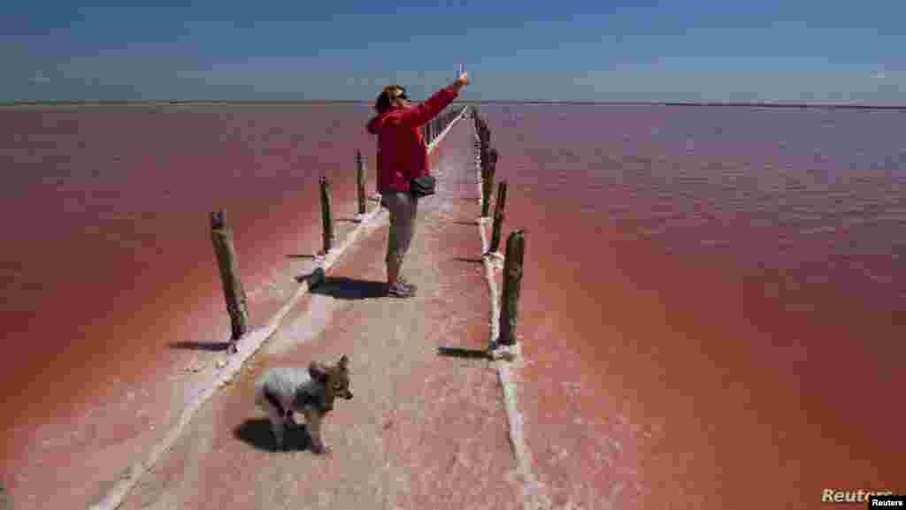크림반도 예우파토리야의 셰시크-시바쉬 호수에서 여행객이 바닥이 드러난 지면 위로 사진을 찍고 있다.