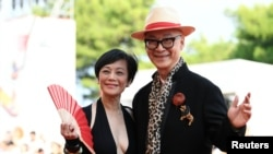 """Director Yonfan and actor Sylvia at The 76th Venice Film Festival for Animated film """"Ji Yuan Tai Qi Hao (No. 7 Cherry Lane)"""" in Venice, Italy, Sept. 2, 2019."""