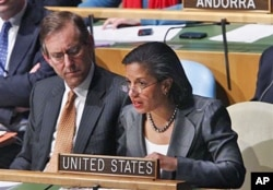 US UN Ambassador Susan Rice speaks in the UN General Assembly at UN headquarters in New York after a vote to suspend Libya from the UN Human Rights Council, March 1, 2011
