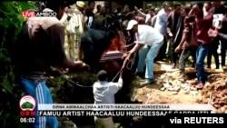 Maziko ya mwanamuziki Haacaaluu Hundeessaa mjini Ambo, Ethiopia, Julai 2, 2020.