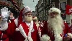 丹麦盛夏惊现世界多地圣诞老人