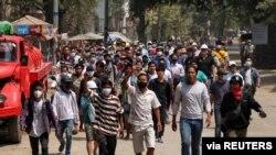 Hình ảnh một cuộc biểu tình ở Myanmar.