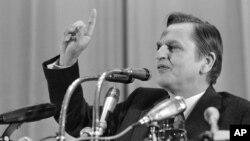 Шведський прем'єр-міністр Улоф Пальме на прес-конференці у Москві 7 квітня 1976 р.