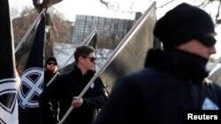Neo-natsist guruhi a'zolari yurishi, Budapesht, Vengriya, 2020-yil, 8-fevral.