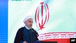 លោកប្រធានាធិបតីអ៊ីរ៉ង់ Hassan Rouhani ថ្លែងនៅក្នុងកម្មវិធីមួយនៅក្នុងក្រុងតេហេរ៉ង់ កាលពីថ្ងៃទី២៧ ខែសីហា ឆ្នាំ២០១៩។