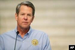 Gubernur Georgia, Brian Kemp, dalam konferensi pers di Gedung Capitol Georgia di Atlanta, 8 April 2020. (AP Photo/Brynn Anderson)