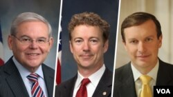 از راست سناتورها کریس مورفی، رندپال و باب منندز