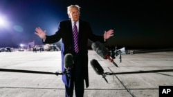 President Donald Trump speaks about the death of Supreme Court Justice Ruth Bader Ginsburg after a campaign rally at Bemidji Regional Airport, Sept. 18, 2020, in Bemidji, Minnesota.