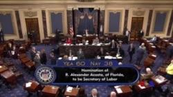 美國參議院批准阿科斯塔出任勞工部長 (粵語)