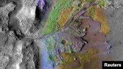 محل تعیین شده برای فرود مریخنورد ۲۰۲۰ ناسا که گمان می رود در گذشته بستر یک دریاچه بوده است