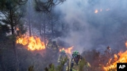 FILE - Forest firefighters work on a wildfire near the town of Jubrique, in Malaga province, Spain, Sept. 11, 2021.