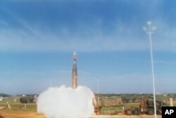 FILE - The U.S. Army launched a Pershing II missile from the Cape Canaveral Air Force Station in Florida, Jan. 13, 1988.