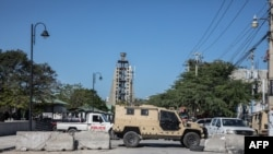 Empty streets are seen with blockades on Champs de Mars in Port-au-Prince, Feb. 8, 2021.